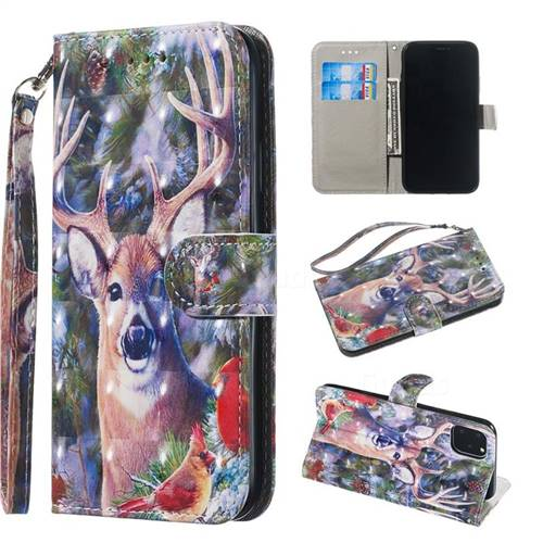 Elk Deer 3D Painted Leather Wallet Phone Case for iPhone 11 (6.1 inch)