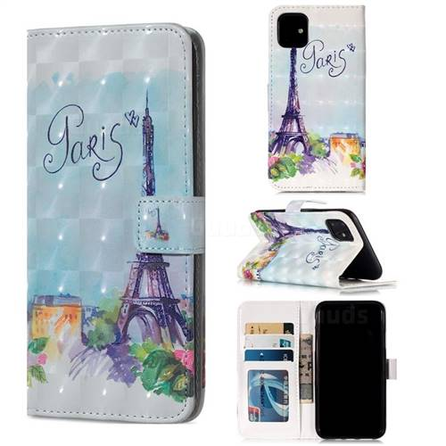 Paris Tower 3D Painted Leather Phone Wallet Case for iPhone 11 (6.1 inch)