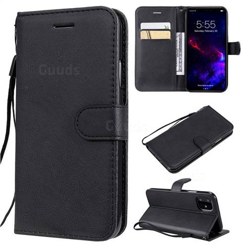 Retro Greek Classic Smooth PU Leather Wallet Phone Case for iPhone 11 (6.1 inch) - Black