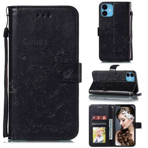 Embossing Butterfly Heart Bear Leather Wallet Case for iPhone 11 (6.1 inch) - Black