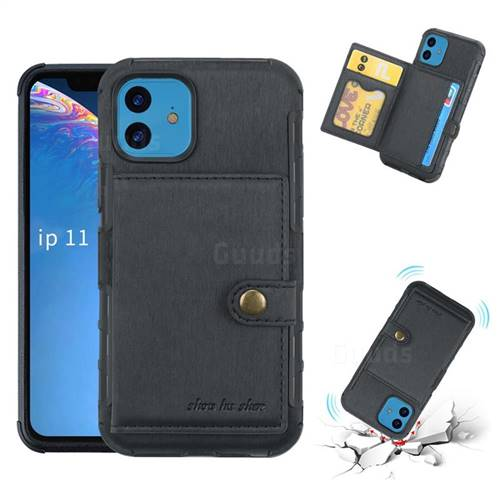 Brush Multi-function Leather Phone Case for iPhone 11 (6.1 inch) - Black