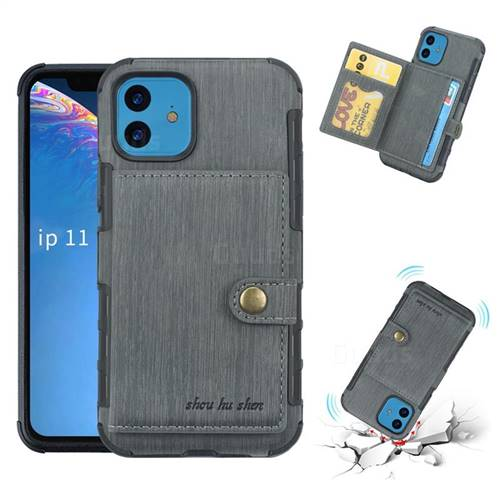 Brush Multi-function Leather Phone Case for iPhone 11 (6.1 inch) - Gray
