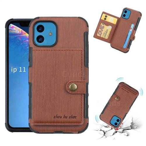 Brush Multi-function Leather Phone Case for iPhone 11 (6.1 inch) - Brown