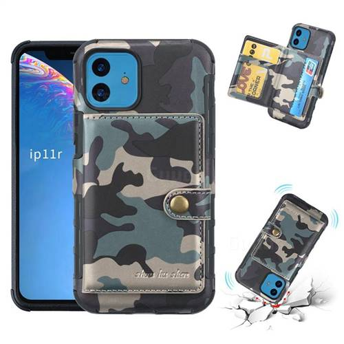 Camouflage Multi-function Leather Phone Case for iPhone 11 (6.1 inch) - Army Green