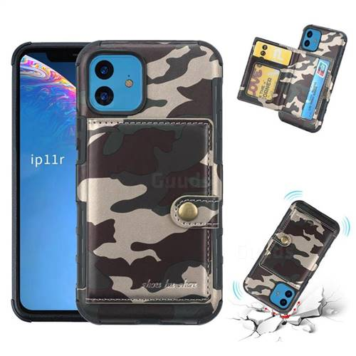 Camouflage Multi-function Leather Phone Case for iPhone 11 (6.1 inch) - Purple