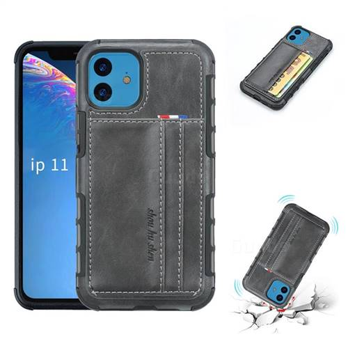 Luxury Shatter-resistant Leather Coated Card Phone Case for iPhone 11 (6.1 inch) - Gray