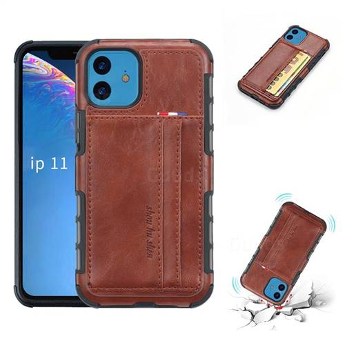Luxury Shatter-resistant Leather Coated Card Phone Case for iPhone 11 (6.1 inch) - Brown