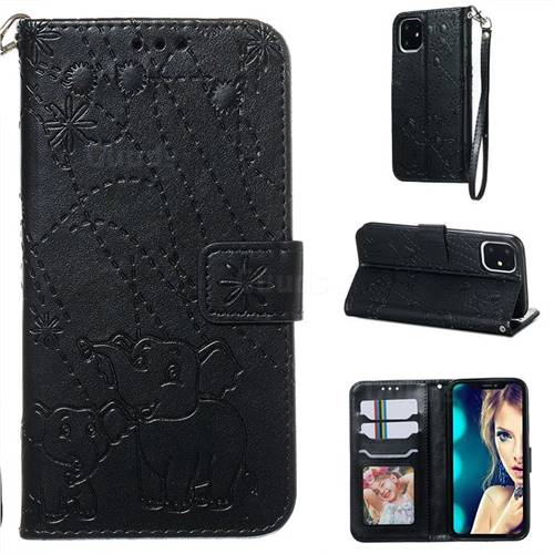 Embossing Fireworks Elephant Leather Wallet Case for iPhone 11 (6.1 inch) - Black