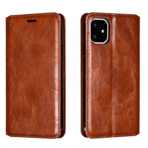Retro Slim Magnetic Crazy Horse PU Leather Wallet Case for iPhone 11 (6.1 inch) - Brown