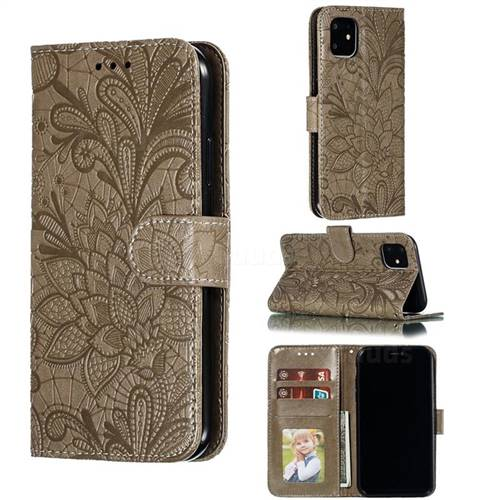 Intricate Embossing Lace Jasmine Flower Leather Wallet Case for iPhone 11 (6.1 inch) - Gray