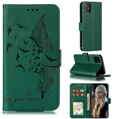 Intricate Embossing Lychee Feather Bird Leather Wallet Case for iPhone 11 (6.1 inch) - Green
