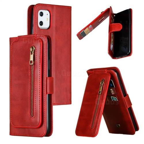 Multifunction 9 Cards Leather Zipper Wallet Phone Case for iPhone 11 (6.1 inch) - Red