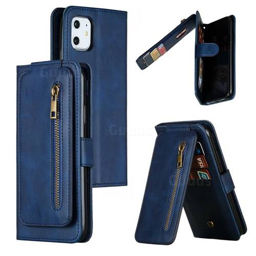 Multifunction 9 Cards Leather Zipper Wallet Phone Case for iPhone 11 (6.1 inch) - Blue