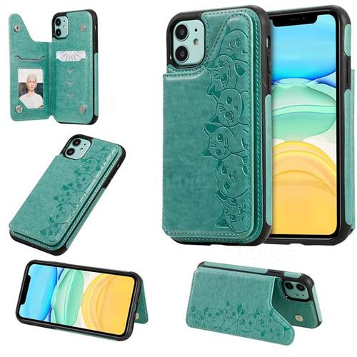 Yikatu Luxury Cute Cats Multifunction Magnetic Card Slots Stand Leather Back Cover for iPhone 11 (6.1 inch) - Green