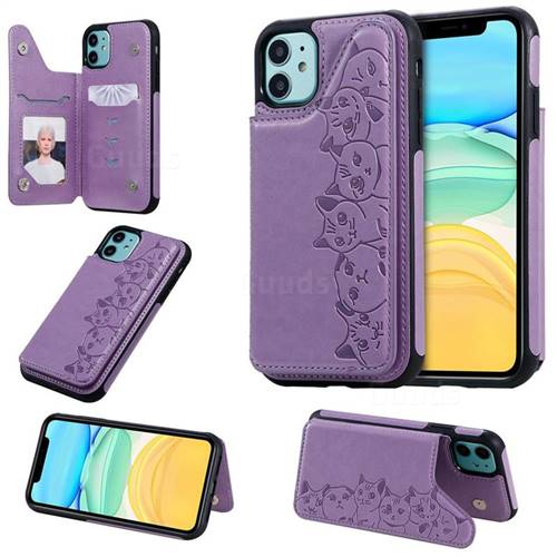 Yikatu Luxury Cute Cats Multifunction Magnetic Card Slots Stand Leather Back Cover for iPhone 11 (6.1 inch) - Purple