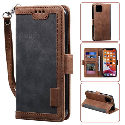 Luxury Retro Stitching Leather Wallet Phone Case for iPhone 11 (6.1 inch) - Gray