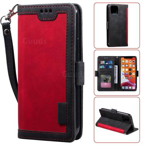 Luxury Retro Stitching Leather Wallet Phone Case for iPhone 11 (6.1 inch) - Deep Red