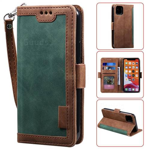 Luxury Retro Stitching Leather Wallet Phone Case for iPhone 11 (6.1 inch) - Dark Green