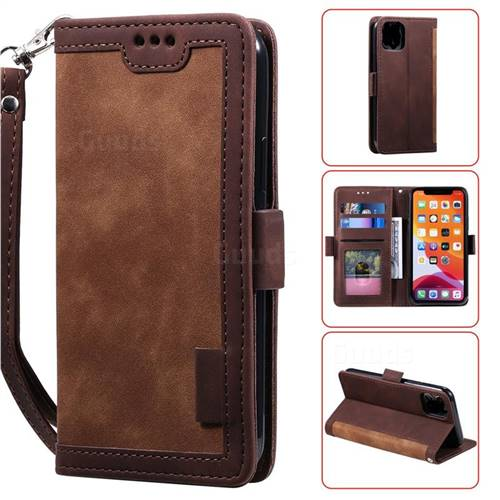 Luxury Retro Stitching Leather Wallet Phone Case for iPhone 11 (6.1 inch) - Dark Brown
