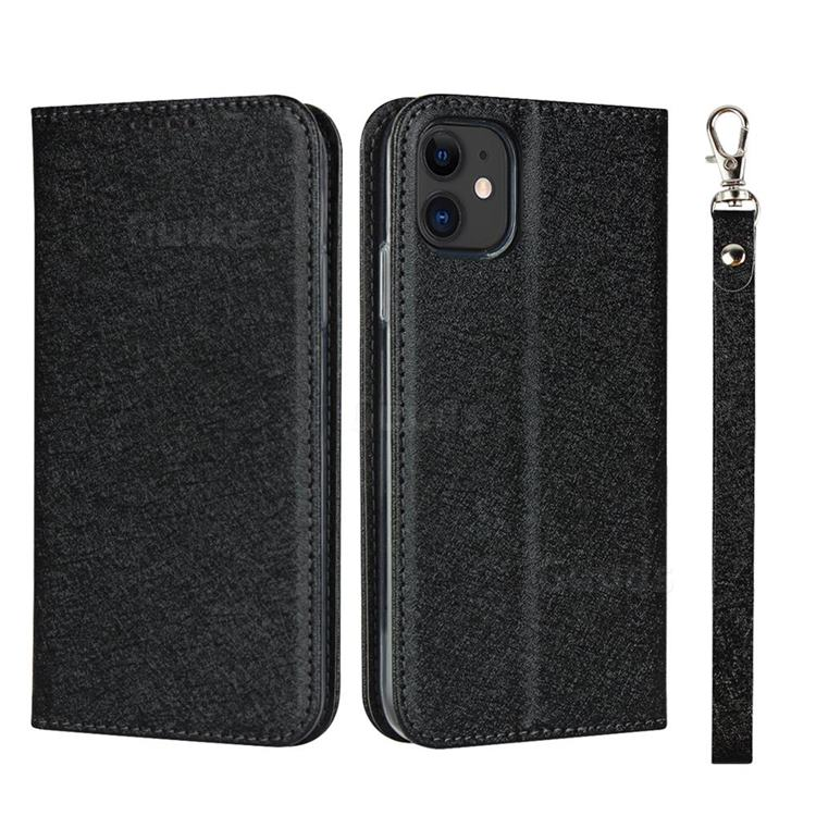 Ultra Slim Magnetic Automatic Suction Silk Lanyard Leather Flip Cover for iPhone 11 (6.1 inch) - Black