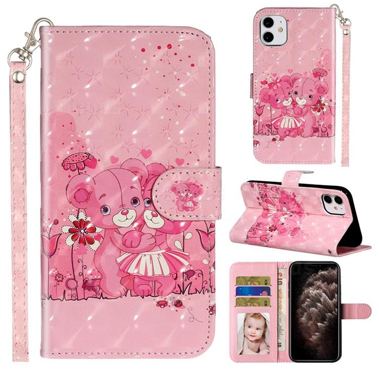 Pink Bear 3D Leather Phone Holster Wallet Case for iPhone 11 (6.1 inch)