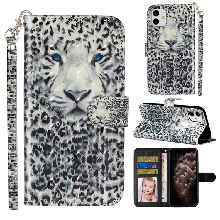 White Leopard 3D Leather Phone Holster Wallet Case for iPhone 11 (6.1 inch)