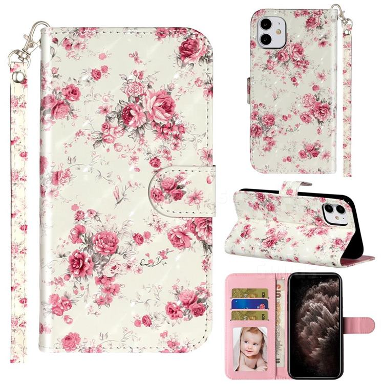 Rambler Rose Flower 3D Leather Phone Holster Wallet Case for iPhone 11 (6.1 inch)