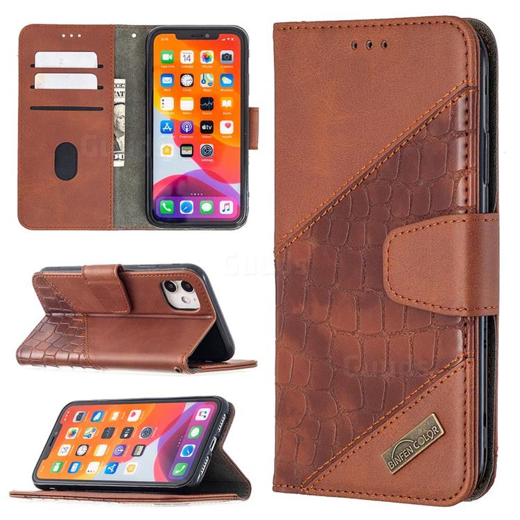 BinfenColor BF04 Color Block Stitching Crocodile Leather Case Cover for iPhone 11 (6.1 inch) - Brown