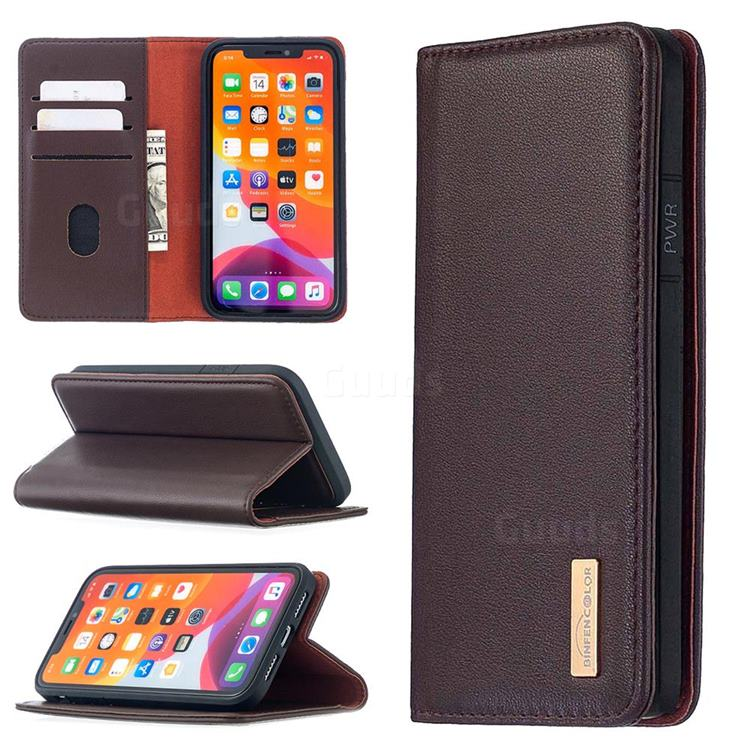 Binfen Color BF06 Luxury Classic Genuine Leather Detachable Magnet Holster Cover for iPhone 11 (6.1 inch) - Dark Brown