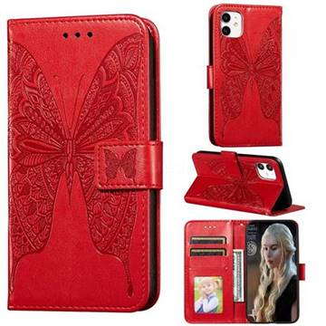 Intricate Embossing Vivid Butterfly Leather Wallet Case for iPhone 11 (6.1 inch) - Red