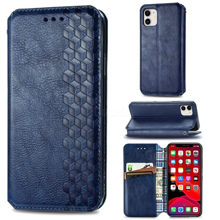 Ultra Slim Fashion Business Card Magnetic Automatic Suction Leather Flip Cover for iPhone 11 (6.1 inch) - Dark Blue