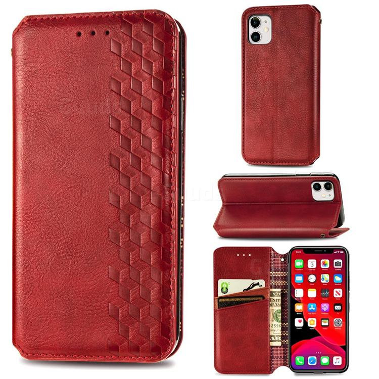 Ultra Slim Fashion Business Card Magnetic Automatic Suction Leather Flip Cover for iPhone 11 (6.1 inch) - Red
