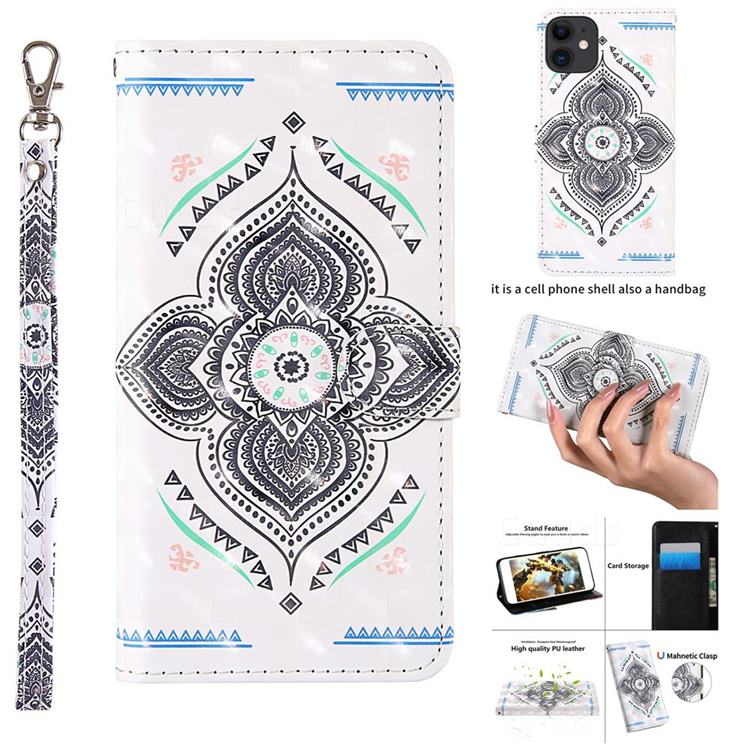Mandala Totem 3D Painted Leather Wallet Case for iPhone 11 (6.1 inch)