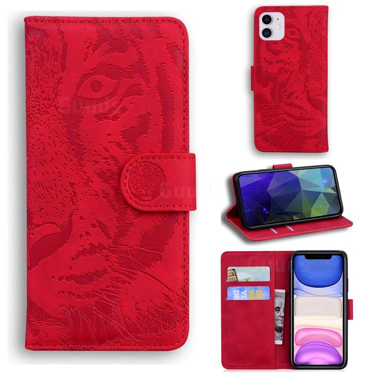 Intricate Embossing Tiger Face Leather Wallet Case for iPhone 11 (6.1 inch) - Red