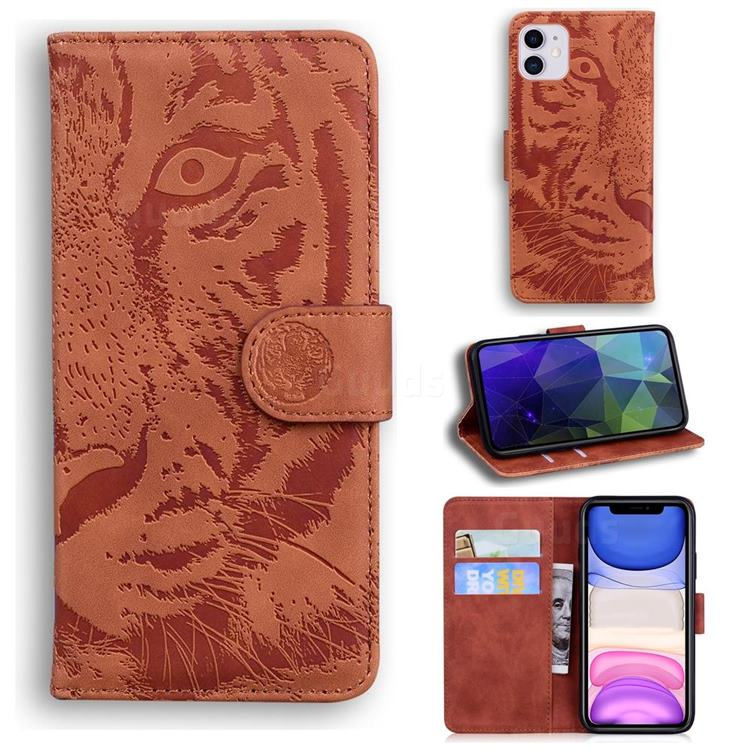 Intricate Embossing Tiger Face Leather Wallet Case for iPhone 11 (6.1 inch) - Brown