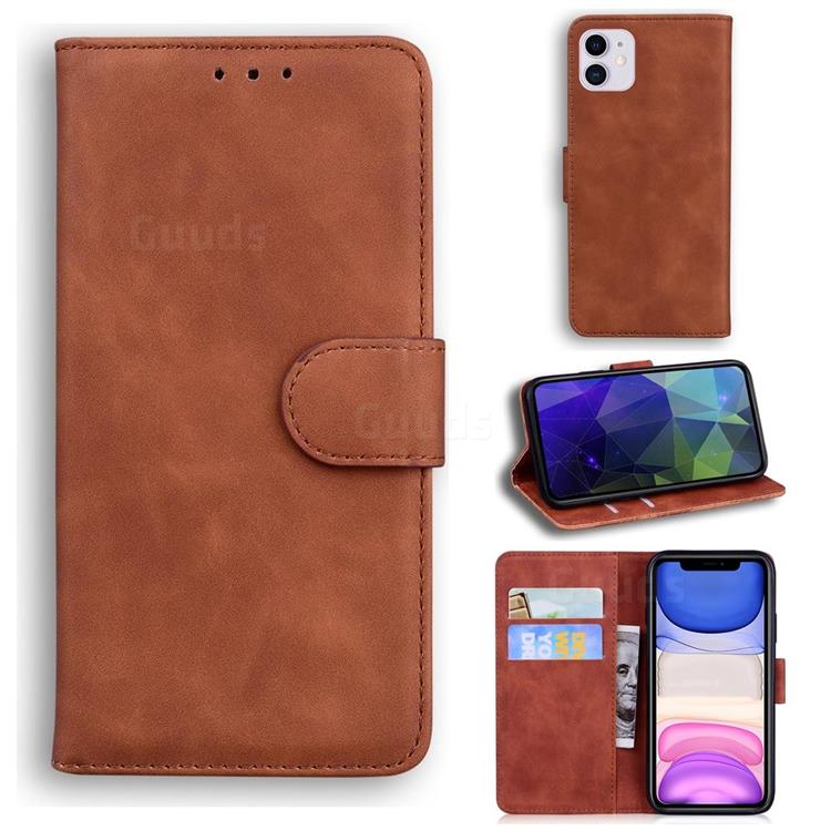 Retro Classic Skin Feel Leather Wallet Phone Case for iPhone 11 (6.1 inch) - Brown