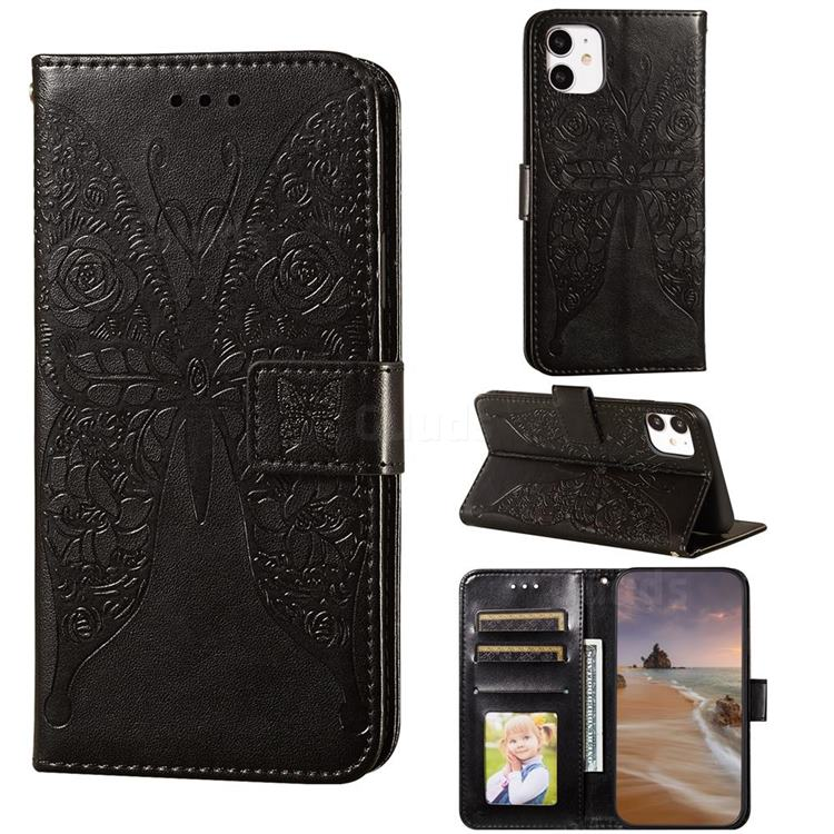 Intricate Embossing Rose Flower Butterfly Leather Wallet Case for iPhone 11 (6.1 inch) - Black