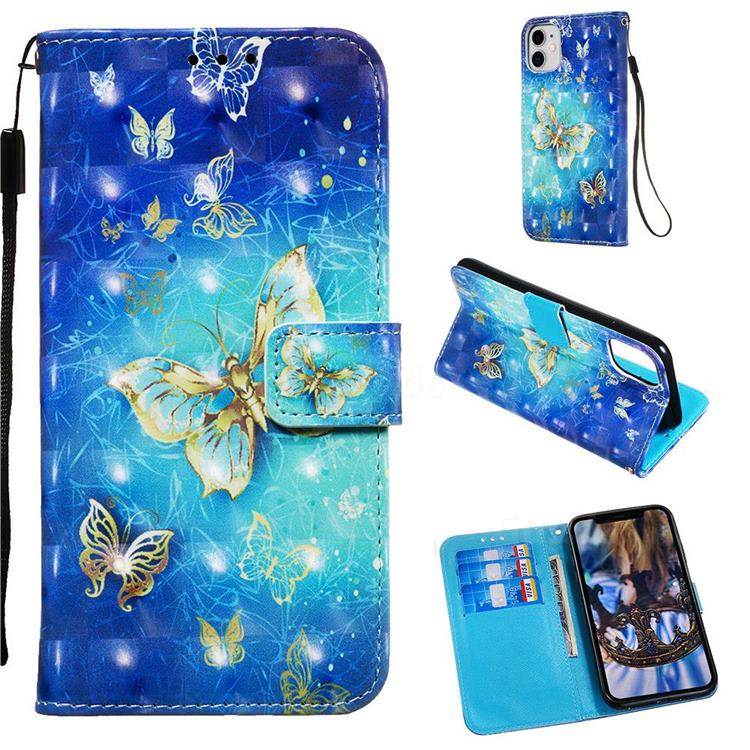 Gold Butterfly 3D Painted Leather Wallet Case for iPhone 11 (6.1 inch)