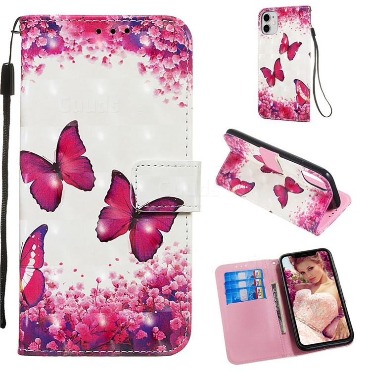 Rose Butterfly 3D Painted Leather Wallet Case for iPhone 11 (6.1 inch)