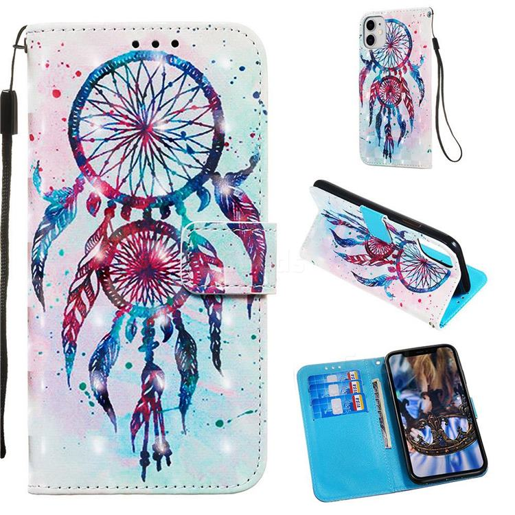 ColorDrops Wind Chimes 3D Painted Leather Wallet Case for iPhone 11 (6.1 inch)