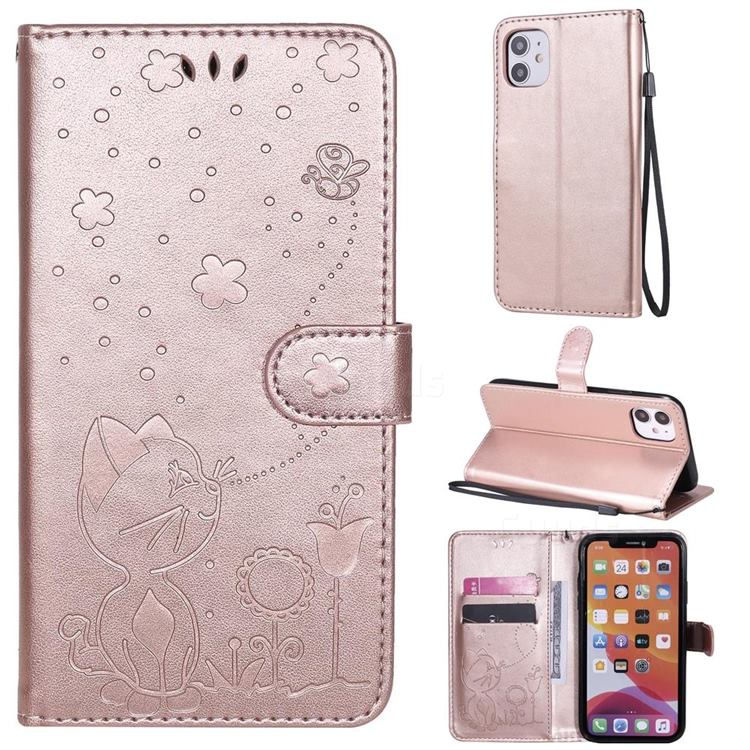 Embossing Bee and Cat Leather Wallet Case for iPhone 11 (6.1 inch) - Rose Gold