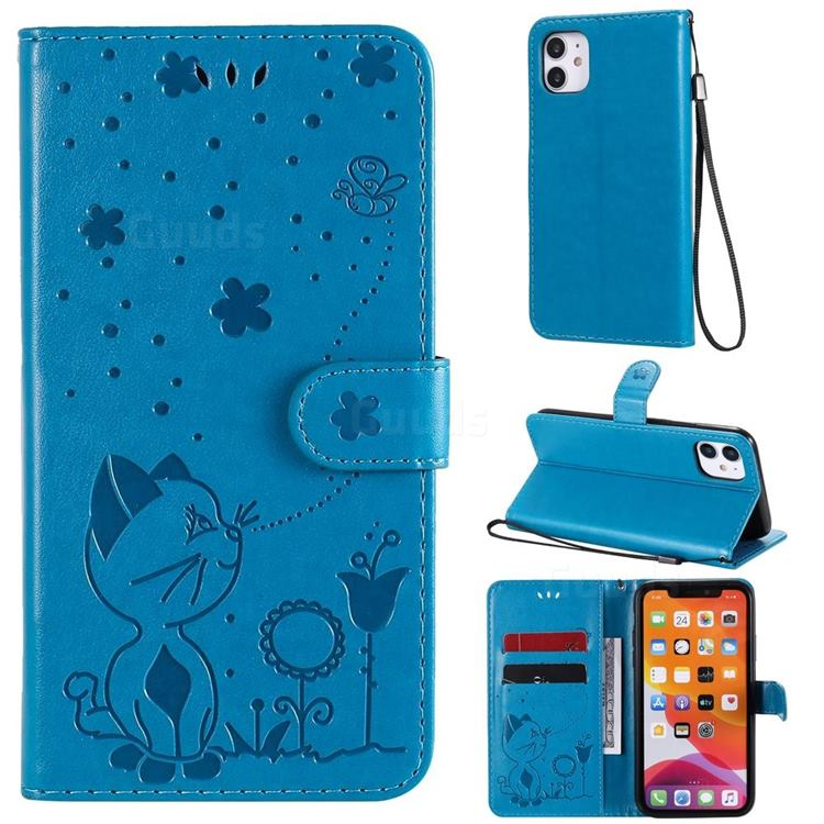 Embossing Bee and Cat Leather Wallet Case for iPhone 11 (6.1 inch) - Blue