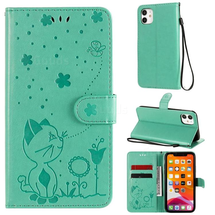 Embossing Bee and Cat Leather Wallet Case for iPhone 11 (6.1 inch) - Green