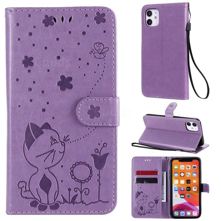 Embossing Bee and Cat Leather Wallet Case for iPhone 11 (6.1 inch) - Purple