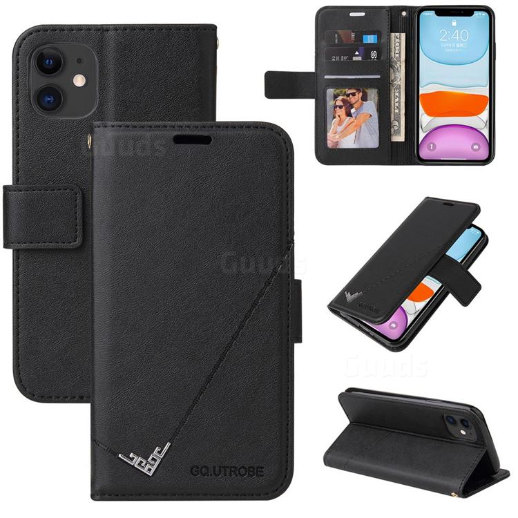 GQ.UTROBE Right Angle Silver Pendant Leather Wallet Phone Case for iPhone 11 (6.1 inch) - Black