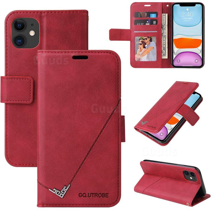 GQ.UTROBE Right Angle Silver Pendant Leather Wallet Phone Case for iPhone 11 (6.1 inch) - Red