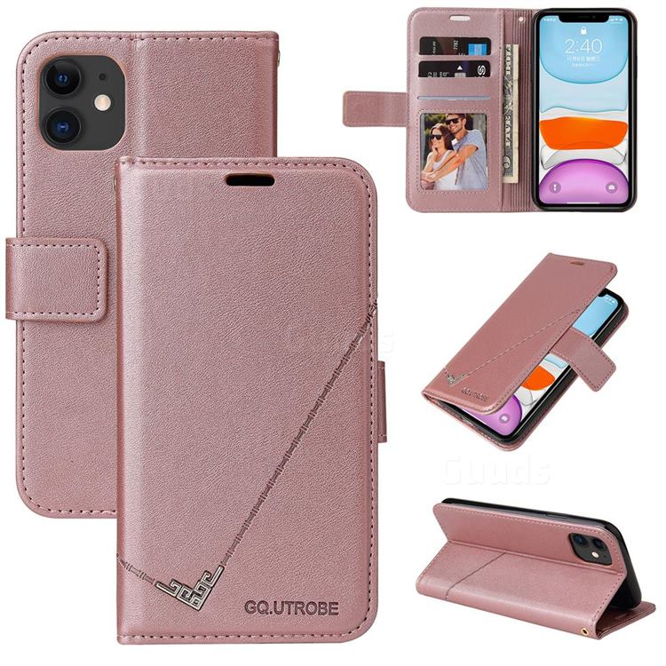GQ.UTROBE Right Angle Silver Pendant Leather Wallet Phone Case for iPhone 11 (6.1 inch) - Rose Gold