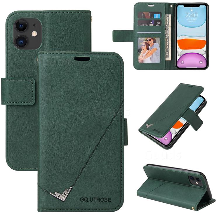 GQ.UTROBE Right Angle Silver Pendant Leather Wallet Phone Case for iPhone 11 (6.1 inch) - Green