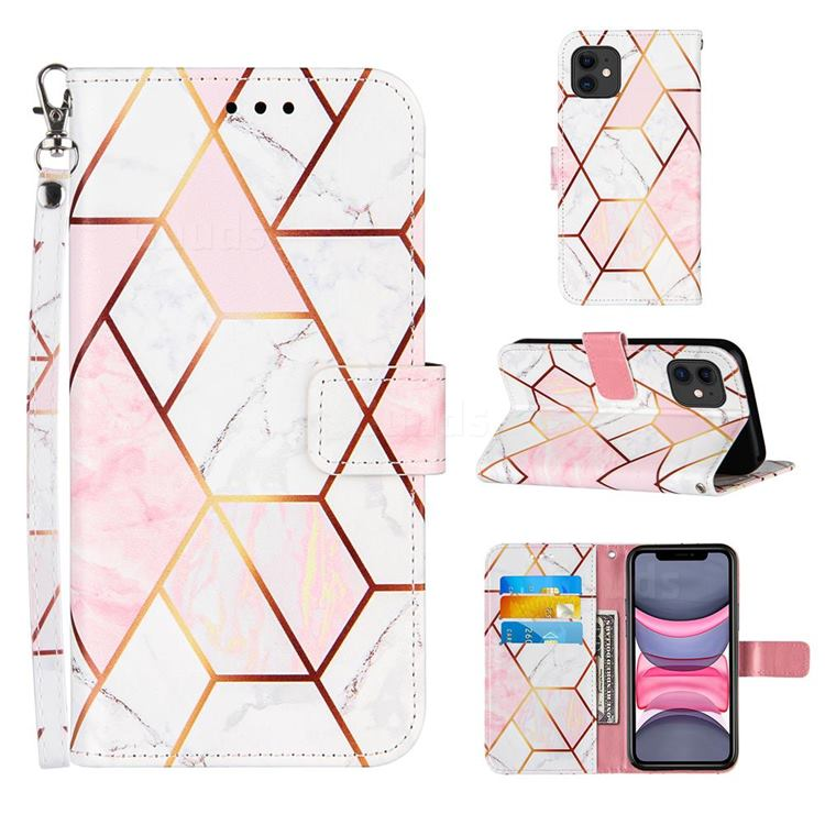 Pink White Stitching Color Marble Leather Wallet Case for iPhone 11 (6.1 inch)