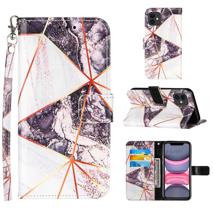 Black and White Stitching Color Marble Leather Wallet Case for iPhone 11 (6.1 inch)